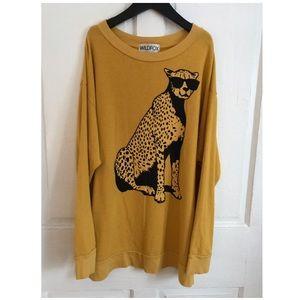 wildfox cheetah oversized sweatshirt xs mustard